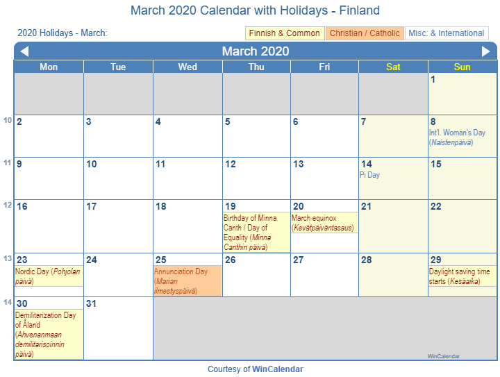 March 2020 Calendar With Holidays Print Friendly March 2020 Finland Calendar for printing