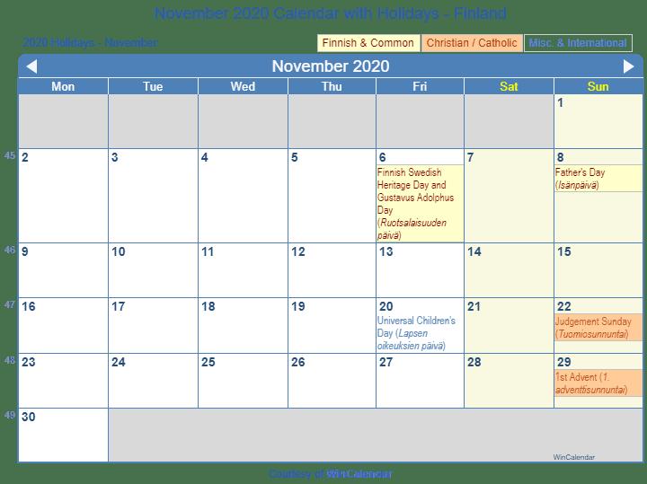 November 2020 Calendar Printable.Print Friendly November 2020 Finland Calendar For Printing