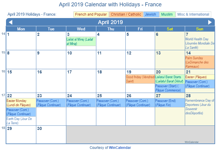April 2019 Calendar with France Holidays (Including Christian,  Jewish, Muslim) to Print