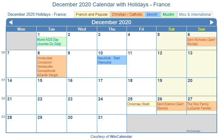 December 2020 Calendar with FRA Holidays (Including Christian,  Jewish, Muslim)