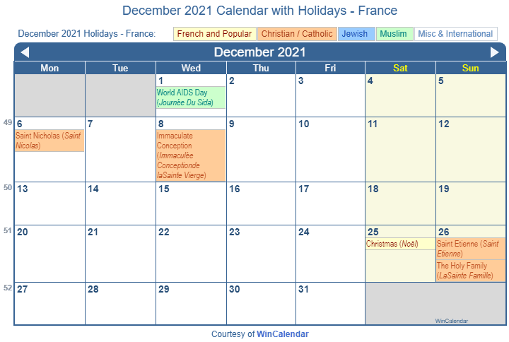 December 2021 Calendar with France Holidays (Including Christian, Jewish, Muslim) to Print