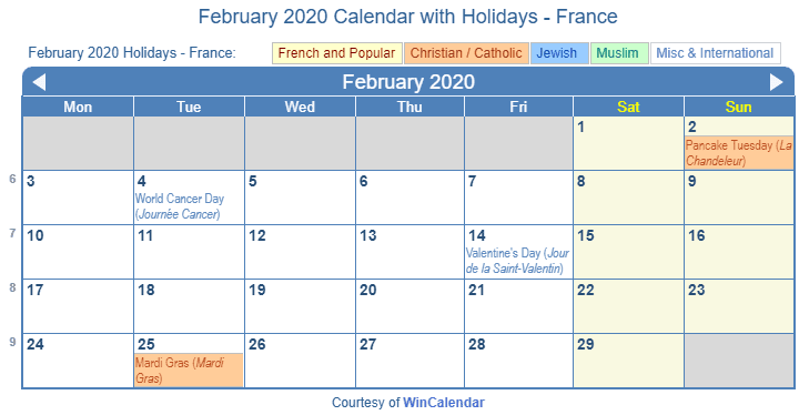 French Calendar February 2020 Print Friendly February 2020 France Calendar for printing