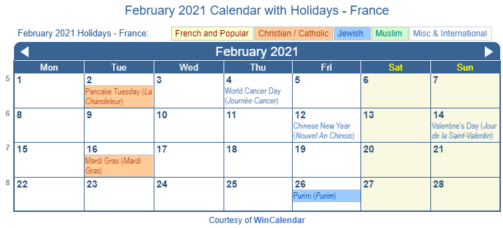 February 2021 Calendar with FRA Holidays (Including Christian,  Jewish, Muslim)