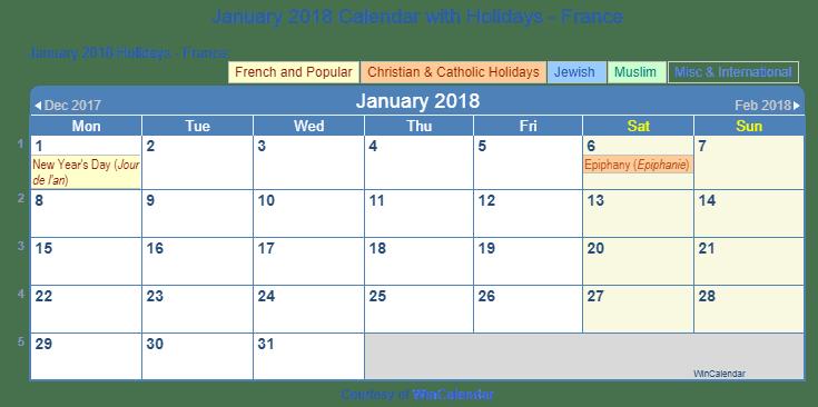 print jan 2018 calendar