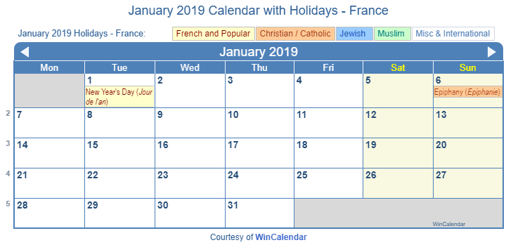 January 2019 Calendar with France Holidays (Including Christian,  Jewish, Muslim) to Print