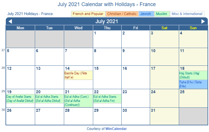 July 2021 Calendar with FRA Holidays (Including Christian,  Jewish, Muslim)