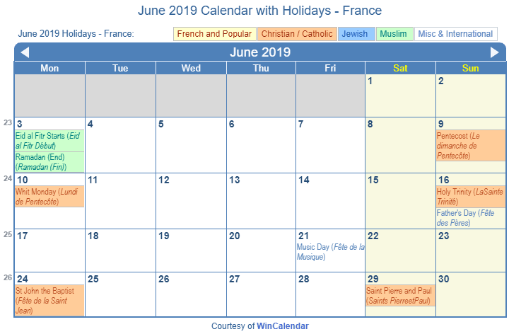 June 2019 Calendar with France Holidays (Including Christian,  Jewish, Muslim) to Print