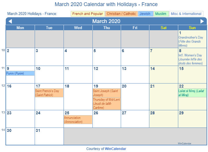 March 2020 Calendar with FRA Holidays (Including Christian,  Jewish, Muslim)