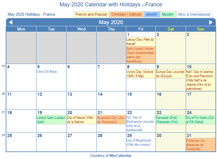 May 2020 Calendar with FRA Holidays (Including Christian,  Jewish, Muslim)