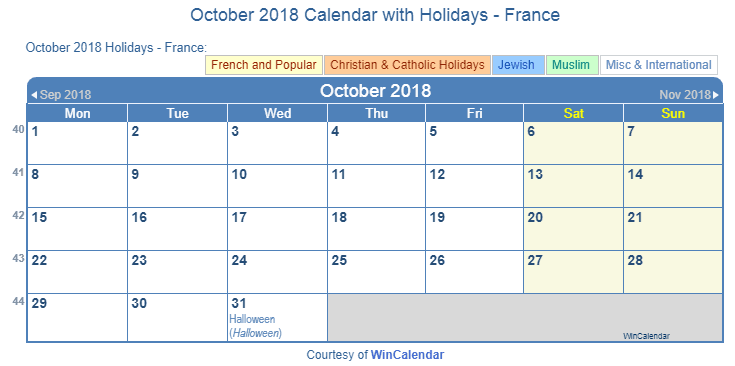 october 2018 calendar with france holidays including christian jewish muslim to print