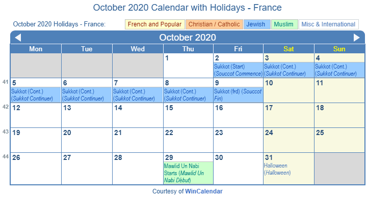 October 2020 Calendar with FRA Holidays (Including Christian,  Jewish, Muslim)