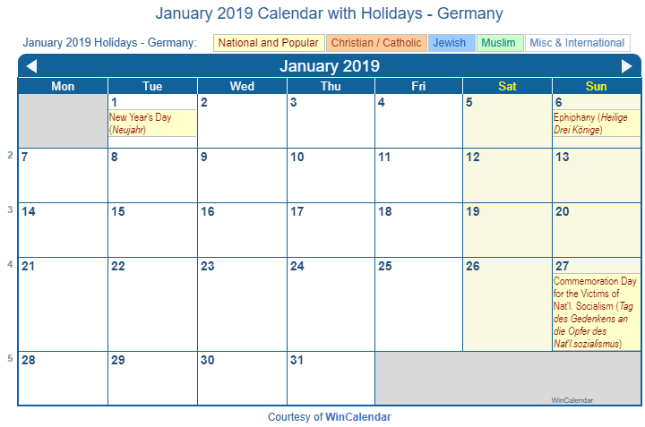 print friendly january 2019 germany calendar for printing