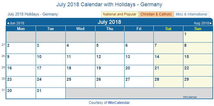 july 2018 calendar with german holidays to print
