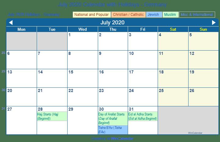 Calendar Of July 2020.Print Friendly July 2020 Germany Calendar For Printing