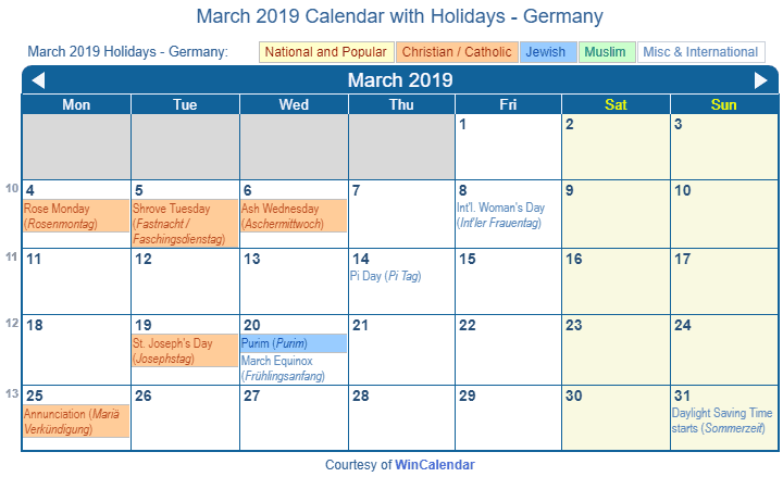 Print Friendly March 2019 Germany Calendar for printing