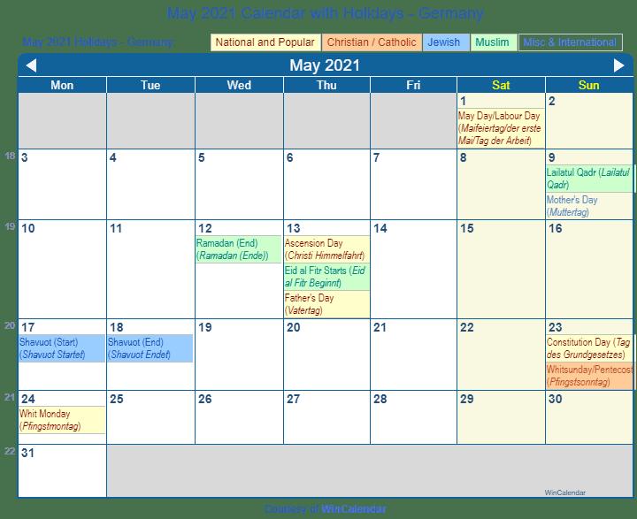Catholic Calendar May 2021 Print Friendly May 2021 Germany Calendar for printing