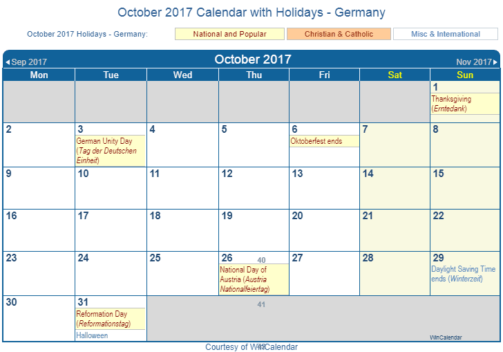 October 2017 Calendar With DEU Holidays Including Christian And Religious