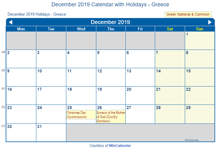 december 2019 calendar with greece holidays to print