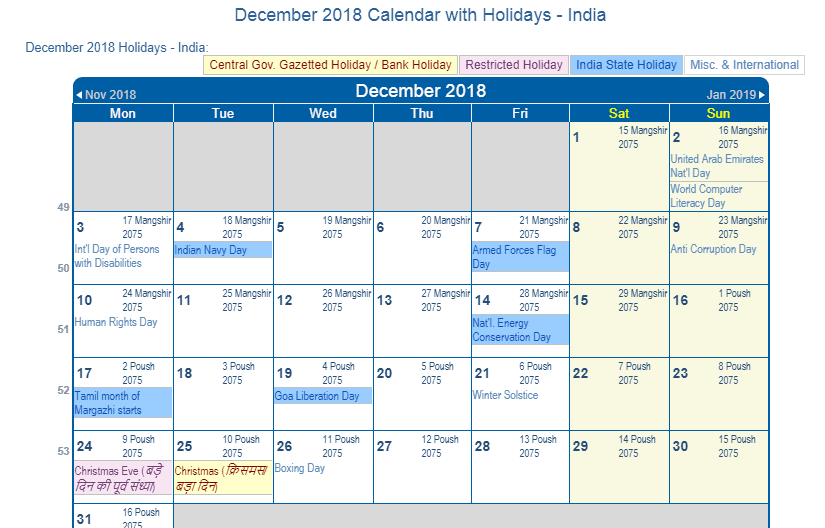 december 2018 calendar with india holidays to print