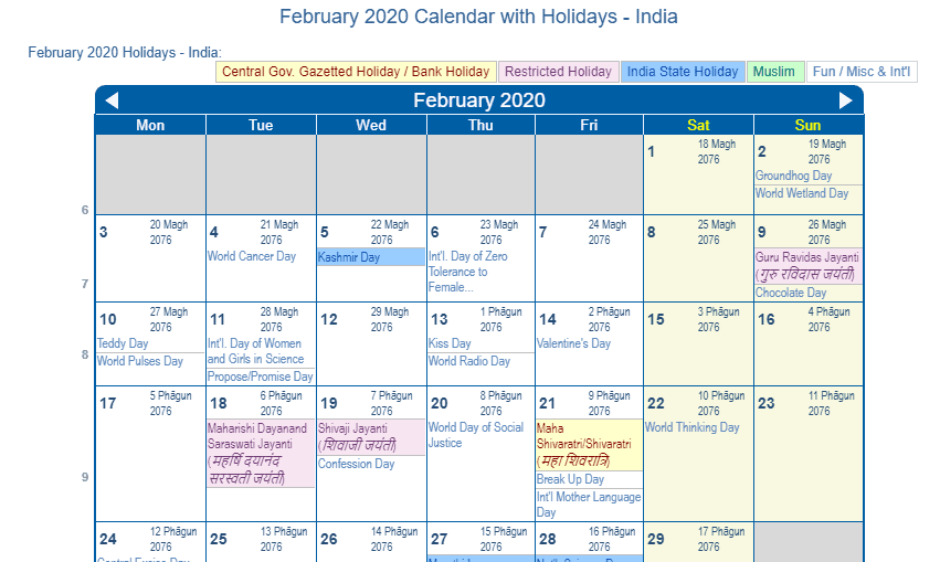 Print Friendly February 2020 India Calendar For Printing