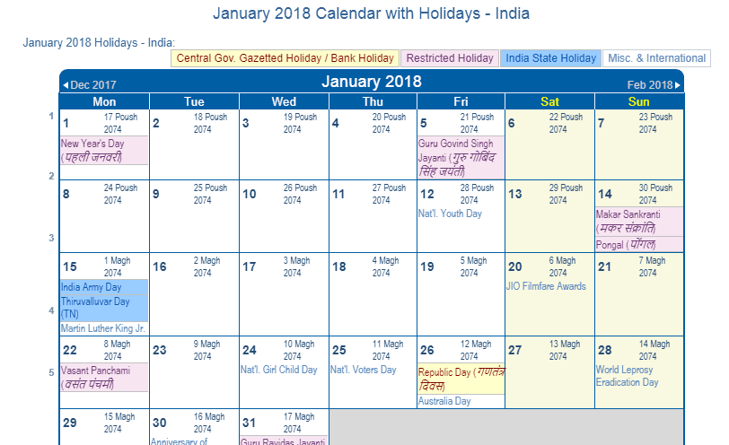 january 2018 calendar with india holidays to print
