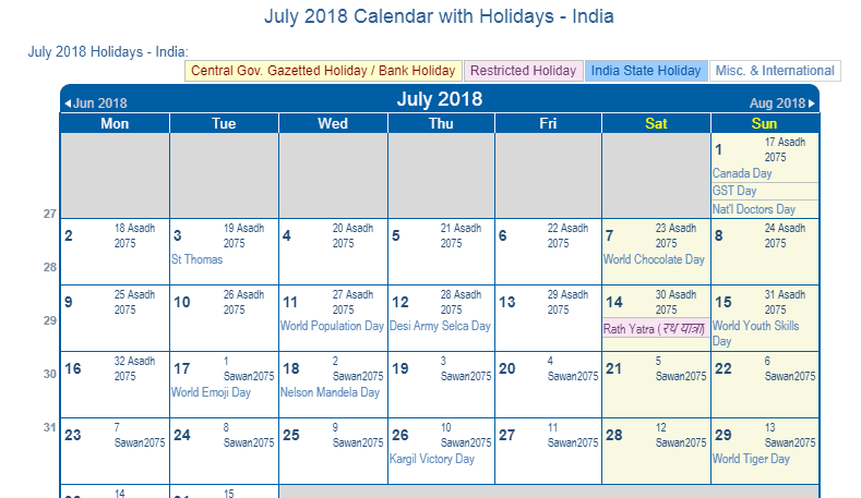 July 2018 Calendar with India Holidays (Including Christian and religious)
