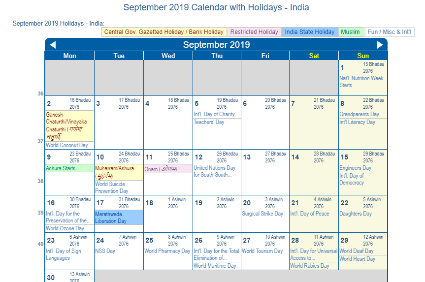 september 2019 calendar with india holidays to print