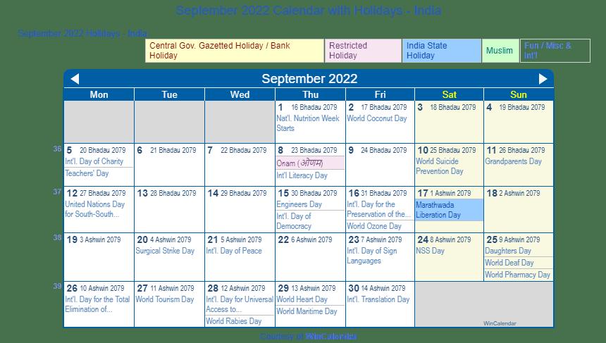 Print Friendly September 2022 India Calendar For Printing