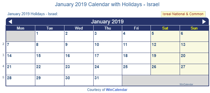 January Wincalendar 2019 Print Friendly January 2019 Israel Calendar for printing