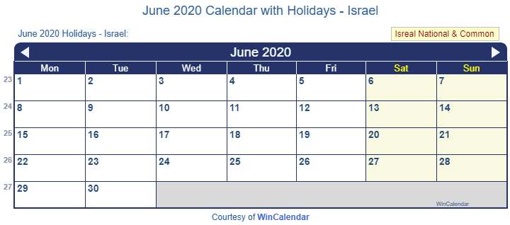 Print Friendly June 2020 Israel Calendar For Printing