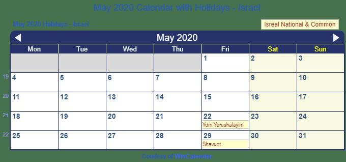 Print Friendly May 2020 Israel Calendar for printing