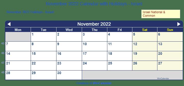 Print Friendly November 2022 Israel Calendar For Printing
