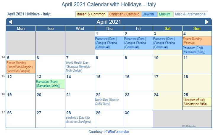 Print Friendly April 2021 Italy Calendar for printing