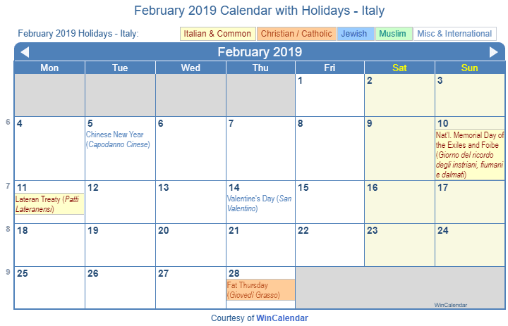 February 2019 Calendar Template Wincalendar Print Friendly February 2019 Italy Calendar for printing