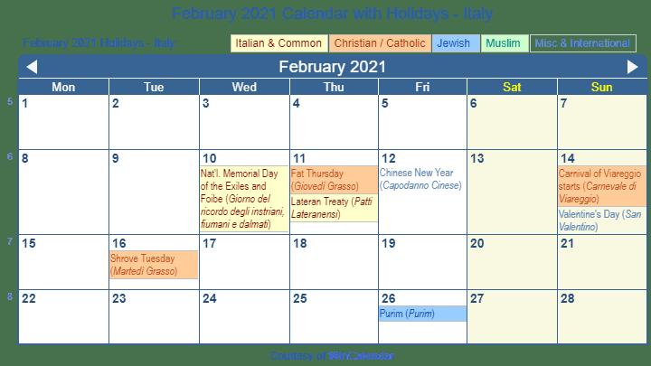 Print Friendly February 2021 Italy Calendar For Printing