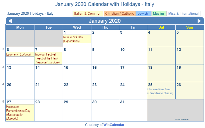 Catholic Calendar January 2020 Print Friendly January 2020 Italy Calendar for printing