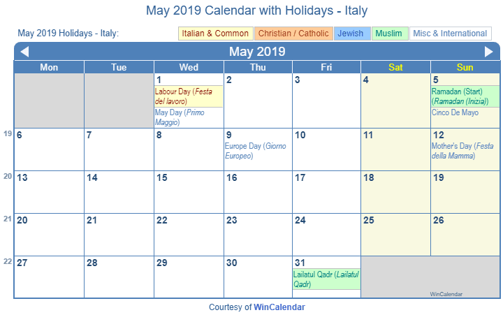 Print Friendly May 2019 Italy Calendar for printing