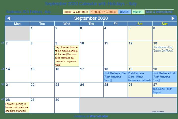 September 2020 Calendar With Holidays Print Friendly September 2020 Italy Calendar for printing