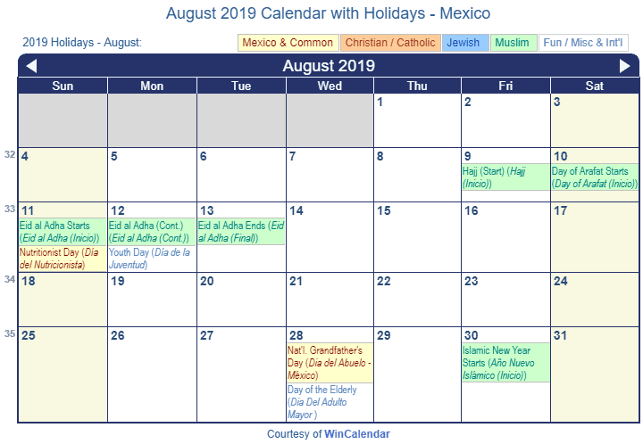 Print Friendly August 2019 Mexico Calendar for printing