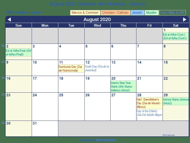 Calendar August 2020 Printable.Print Friendly August 2020 Mexico Calendar For Printing