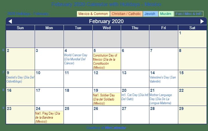 La Calendar February 2020 Print Friendly February 2020 Mexico Calendar for printing