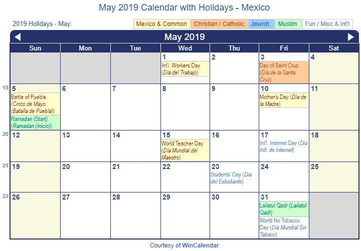 May 2019 Calendar with Mexican Holidays to Print