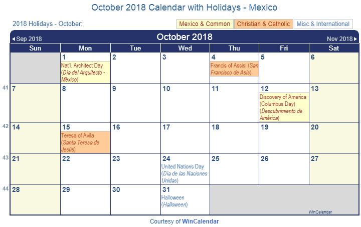 calendar to print 2018