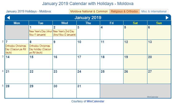 January Wincalendar 2019 Print Friendly January 2019 Moldova Calendar for printing