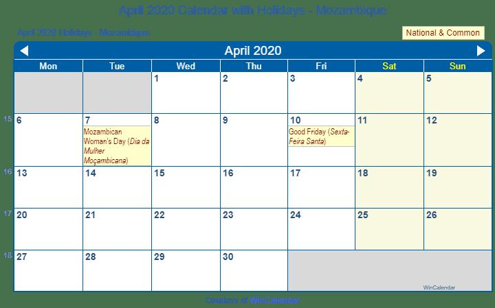 Win Calendar 2020 Print Friendly April 2020 Mozambique Calendar for printing