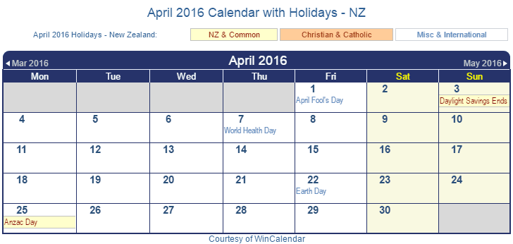 April Calendar Nz : Print friendly april new zealand calendar for printing