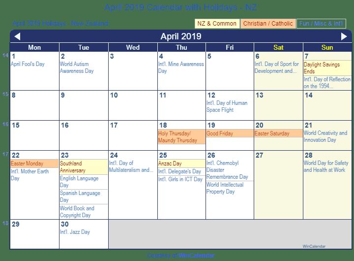 Calendar 2019 Daylight Savings