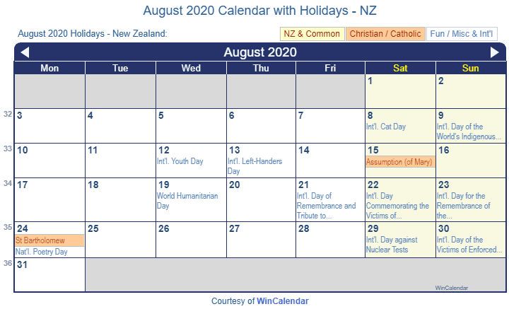 August 2020 Calendar with NZ Holidays (Including Christian and religious)
