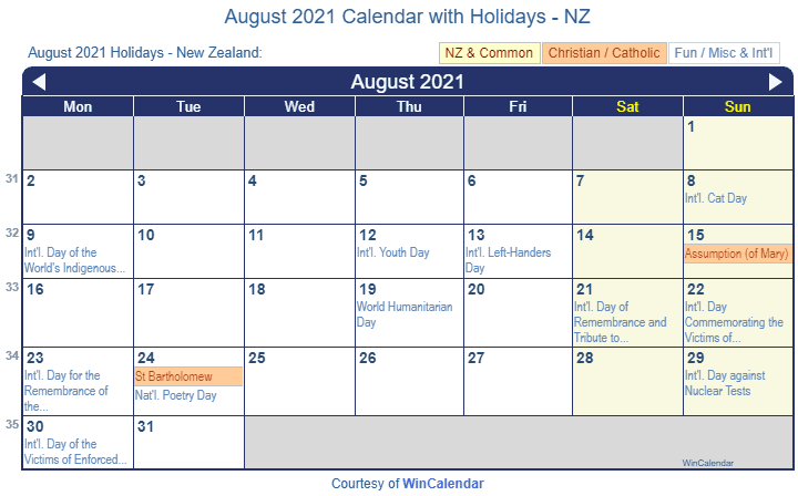 Print Friendly August 2021 New Zealand Calendar for printing