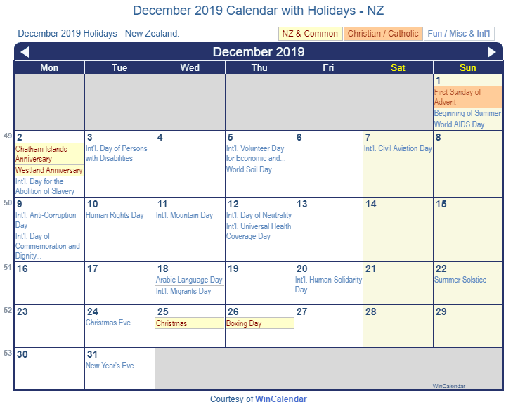 december 2019 calendar with nz holidays to print